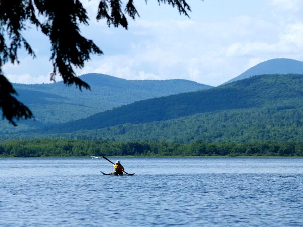 Mountains across Wilson Lake