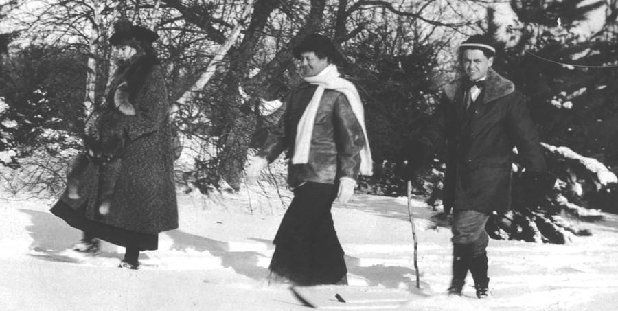 Women skiing in Skirts - circa 1920 - 1930's
