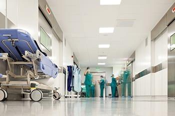 stock image of hospital hallway