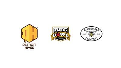 gaiser bee company logo, detroit hives logo, purdue bug bowl logo