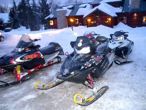 Sleds in Front of Lodge
