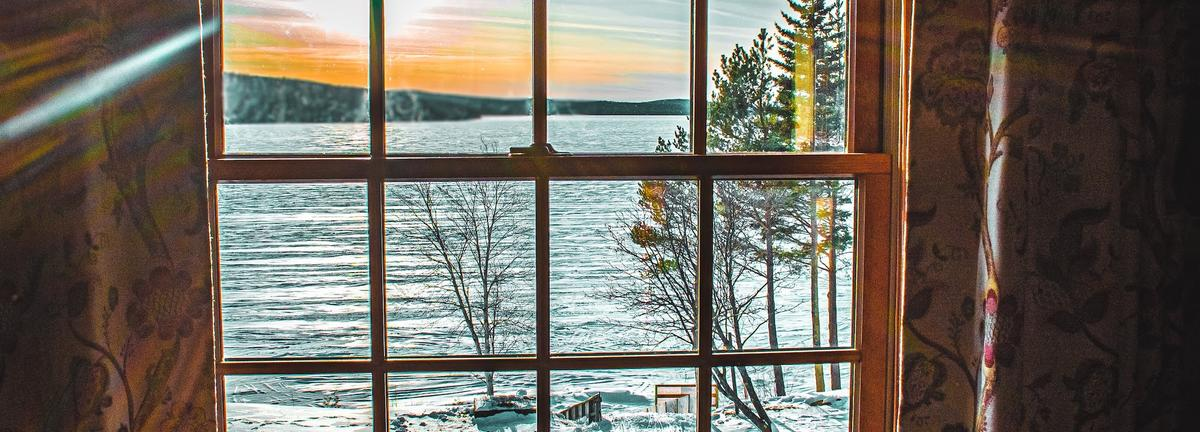 Winter lake view at Loon Lodge