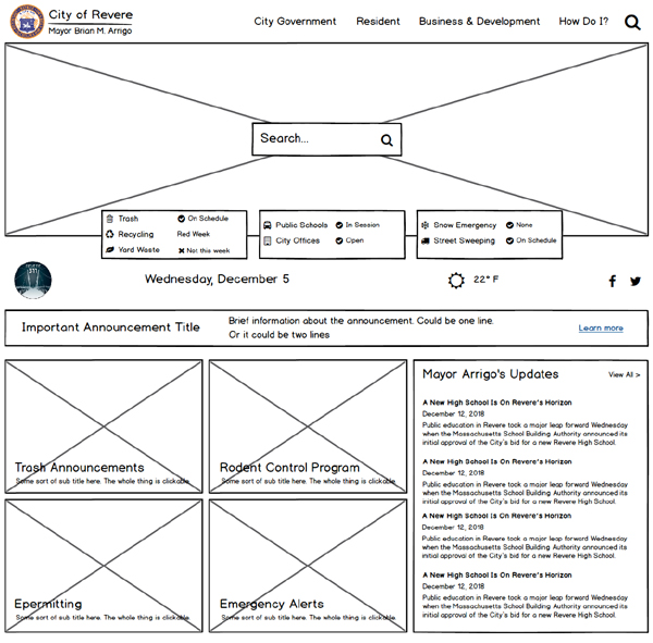 Revere home page wireframe