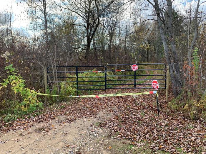 Gate barring the way north from North Lawrenceville (Credit: BobStein)