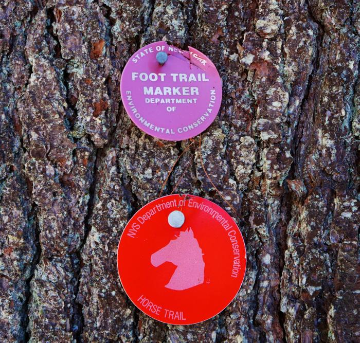 The Brookside Trail is marked with red markers. (Credit: https://hikingthetrailtoyesterday.wordpress.com/)