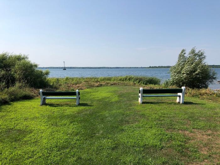 A scenic view of the St. Lawrence River along the trail