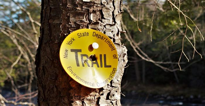 The trail is marked with yellow markers (Credit: Credit: Wm Hill- Hiking the trail to yesterday)