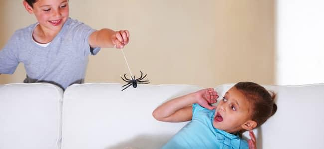 child scaring another child with fake spider