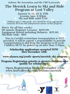 Accepting Financial Assistant Requests for 2021 Merrick Learn to Ski & Ride Program