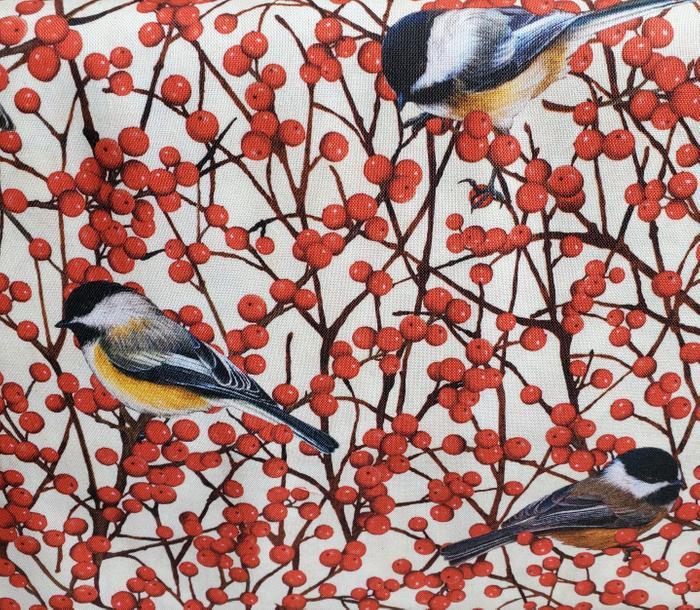 Maine Birds and Berries Chickadee and Winterberry