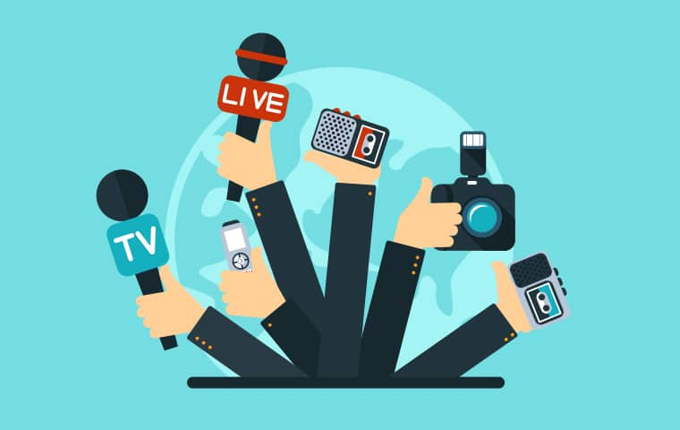 images of news media hands in the air