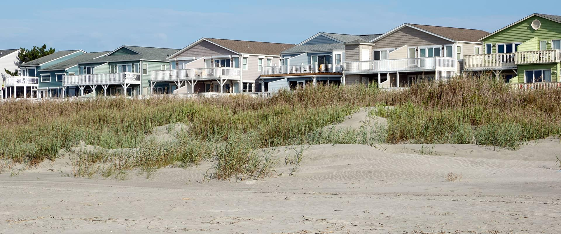 beach view of a row of homes