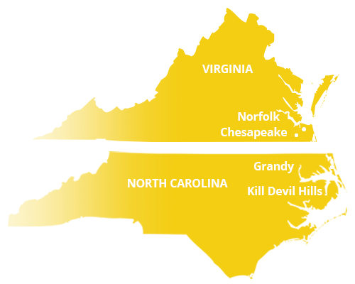 where we service map of north carolina featuring grandy and kill devil hills